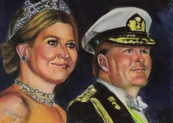 het koninklijk paar ; oliepastel