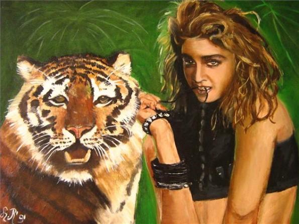 madonna met tijger ; olieverf 60 x80