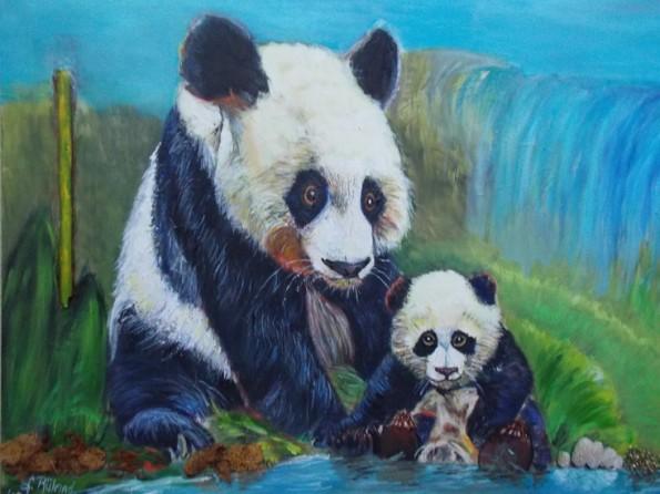 panda met jong; mixed media