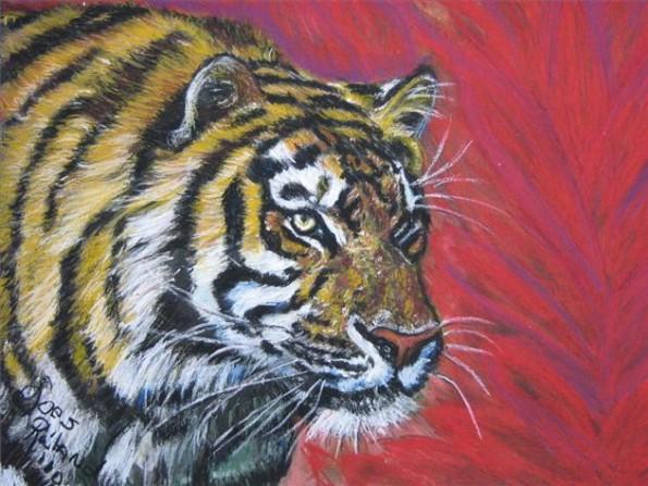 tijger in oliepastel op karton ( 70 x 50 )