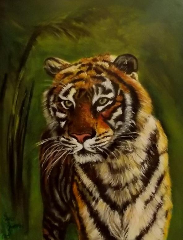 tijger met groene achtergrond 4