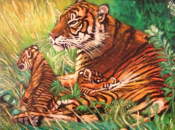 tijgerin met 2 welpen1 ( 70 x 50 )